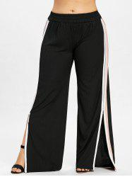 Plus Size Side Split Zip Wide Leg Pants -
