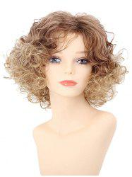 Short Inclined Bang Colormix Fluffy Curly Synthetic Wig -