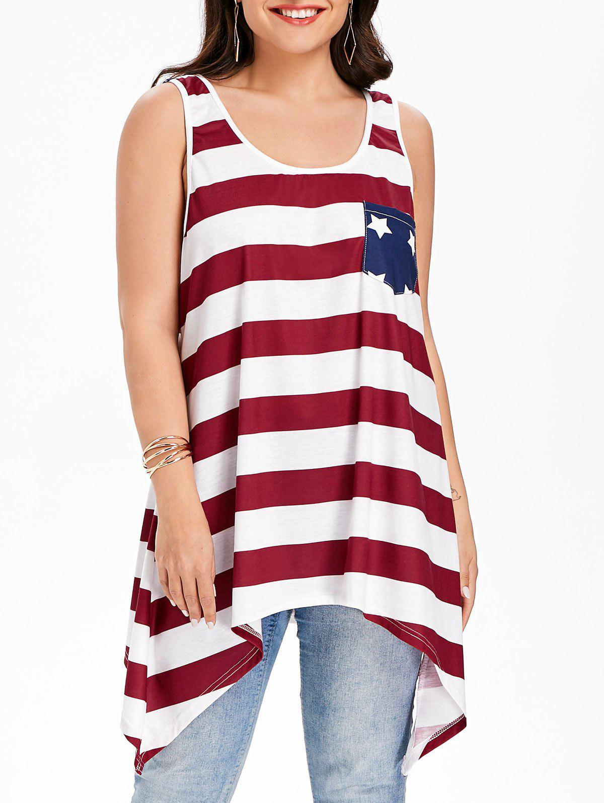 1e52377dd85 2019 Patriotic American Flag Pocket Plus Size Tank Top