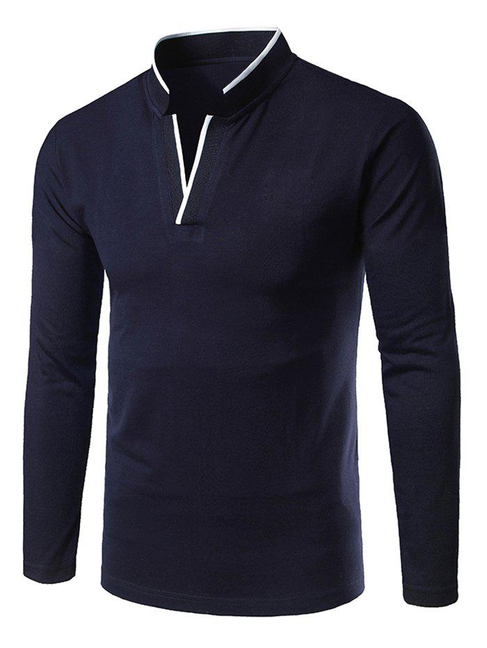 Hot Color Block Neck Long Sleeve T-shirt