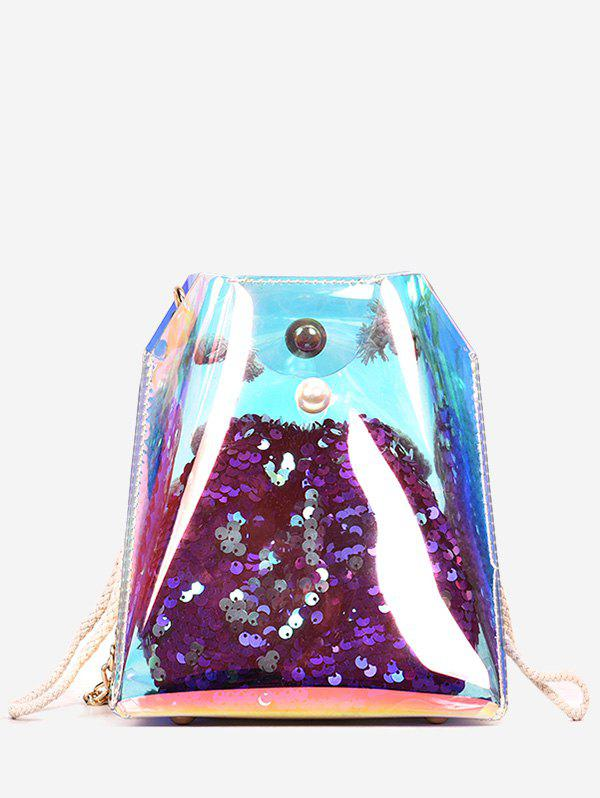 Cheap Metal Chain Sequins Lucid Jelly Crossbody Bag