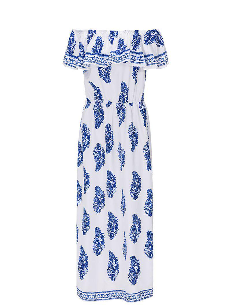 Outfits Side Slit Off The Shoulder Printed Maxi Dress