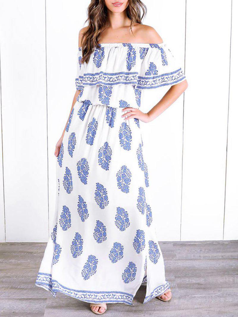 Buy Side Slit Off The Shoulder Printed Maxi Dress