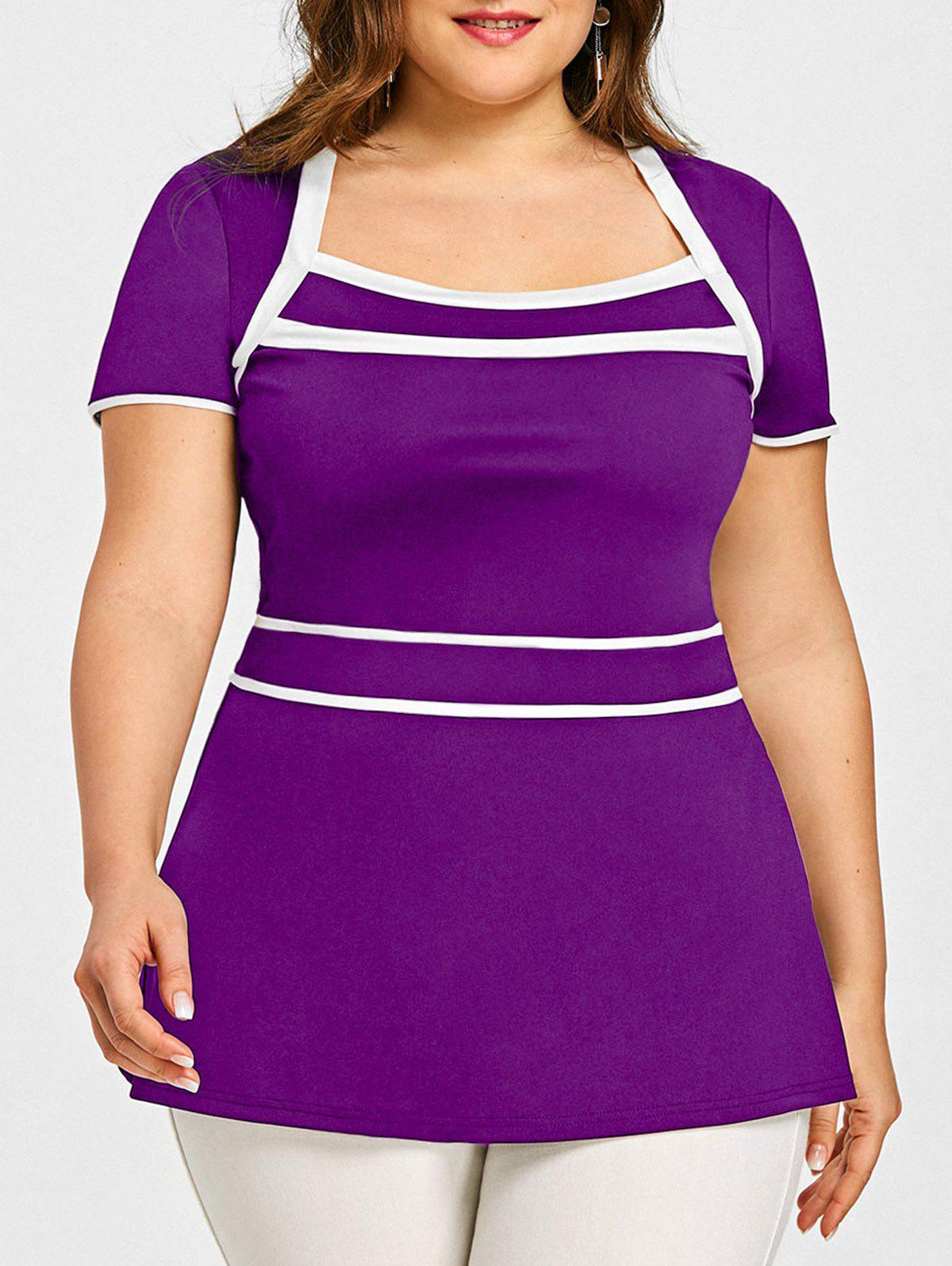 Buy Plus Size Contrasting Peplum T-shirt