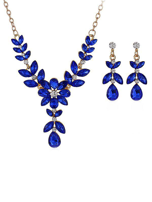Fashion Water Drop Shaped Flower Decorations Rhinestone Necklace with Earrings