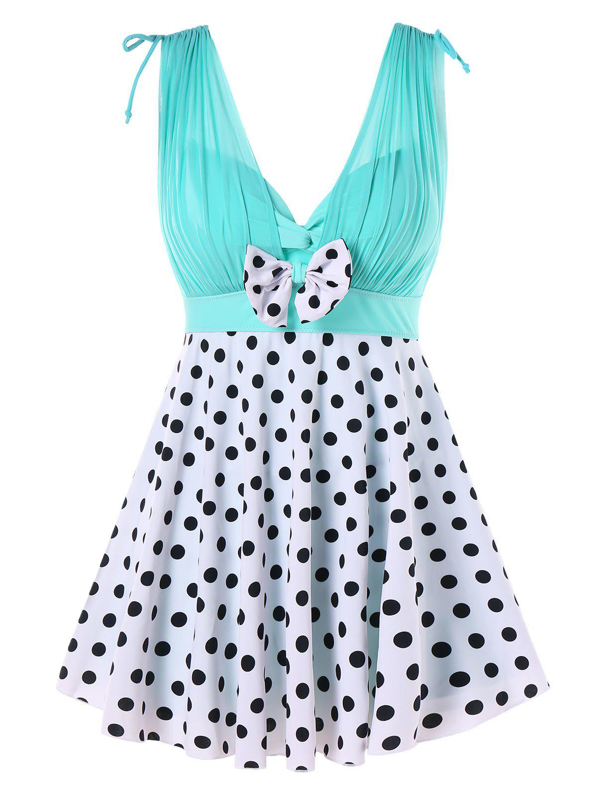 Best One-piece Polka Dot Skirted Swimwear
