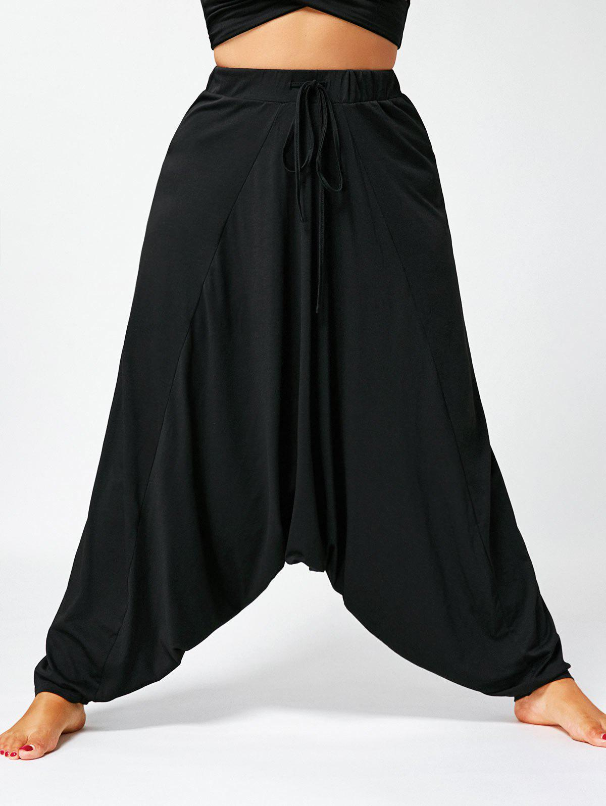 Affordable Drawstring Plus Size Drop Bottom Harem Pants