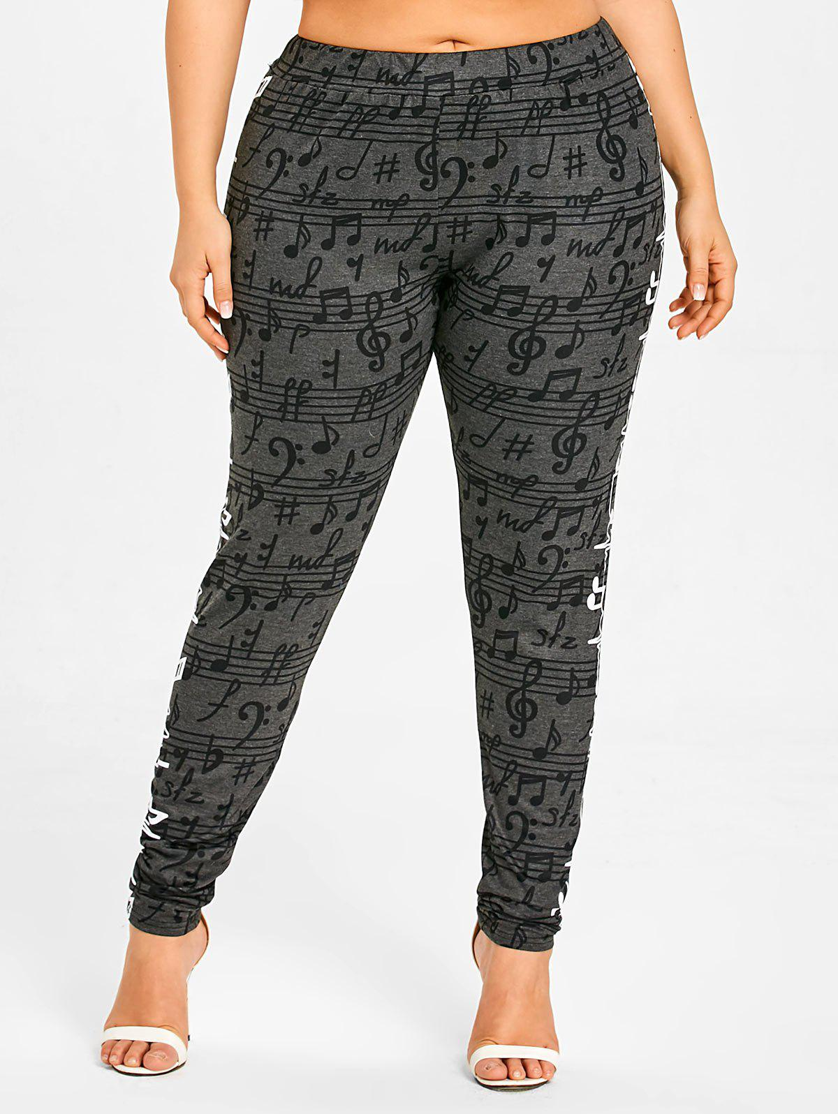 Latest Musical Notes Allover Plus Size Casual Pants