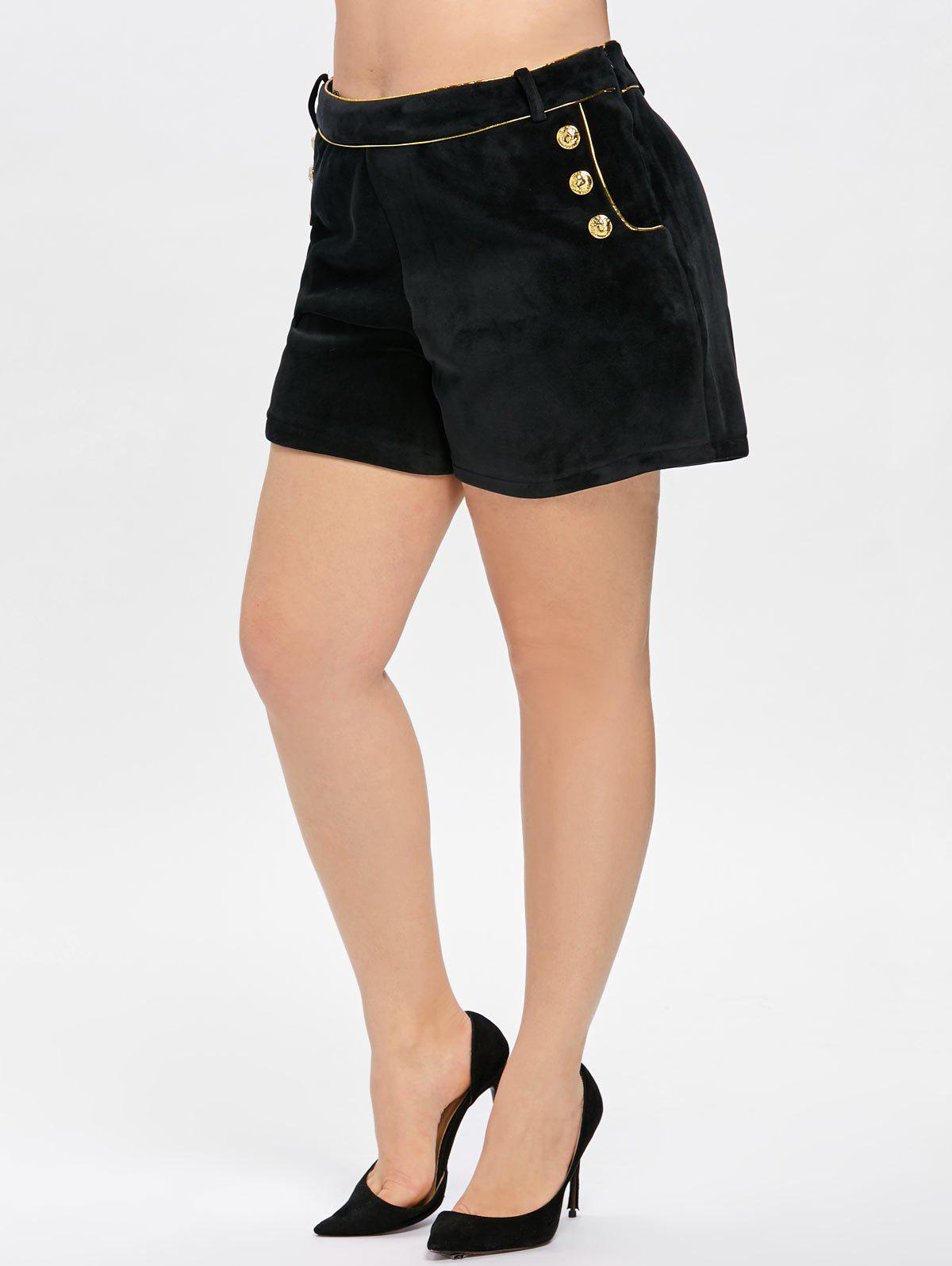 New Double Breasted Button Plus Size Velvet Shorts