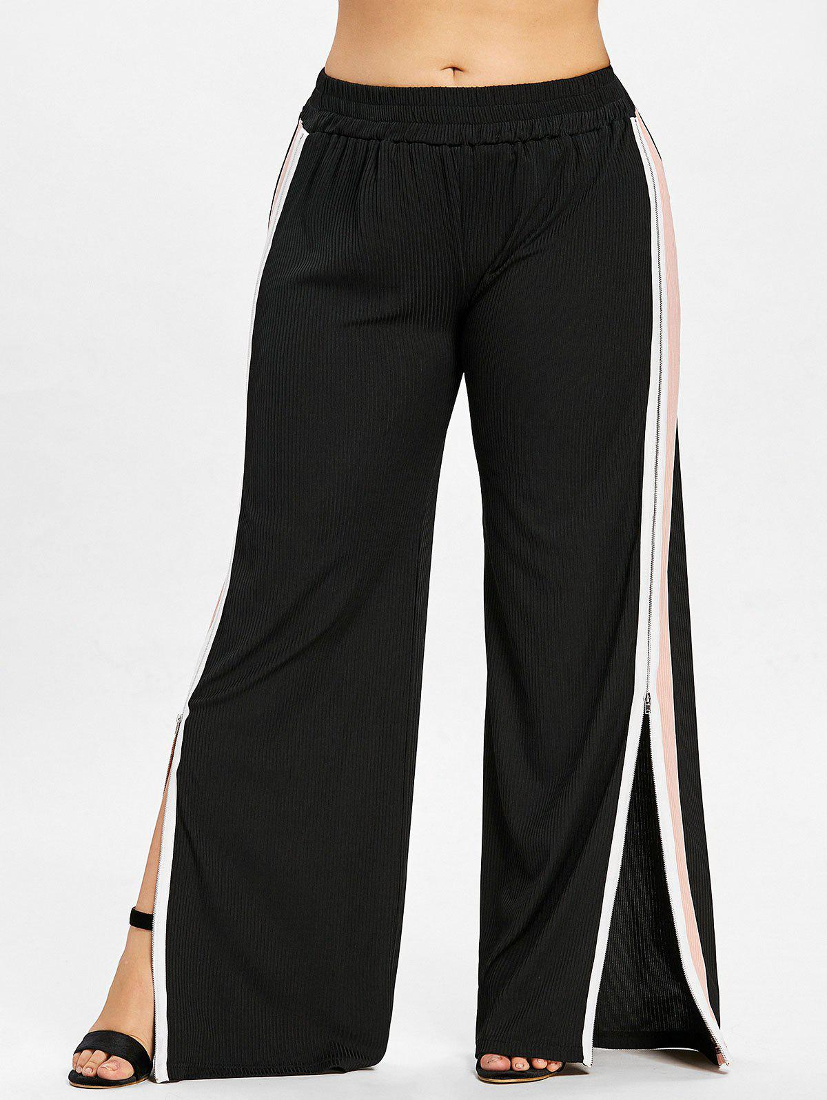 Sale Plus Size Side Split Zip Wide Leg Pants