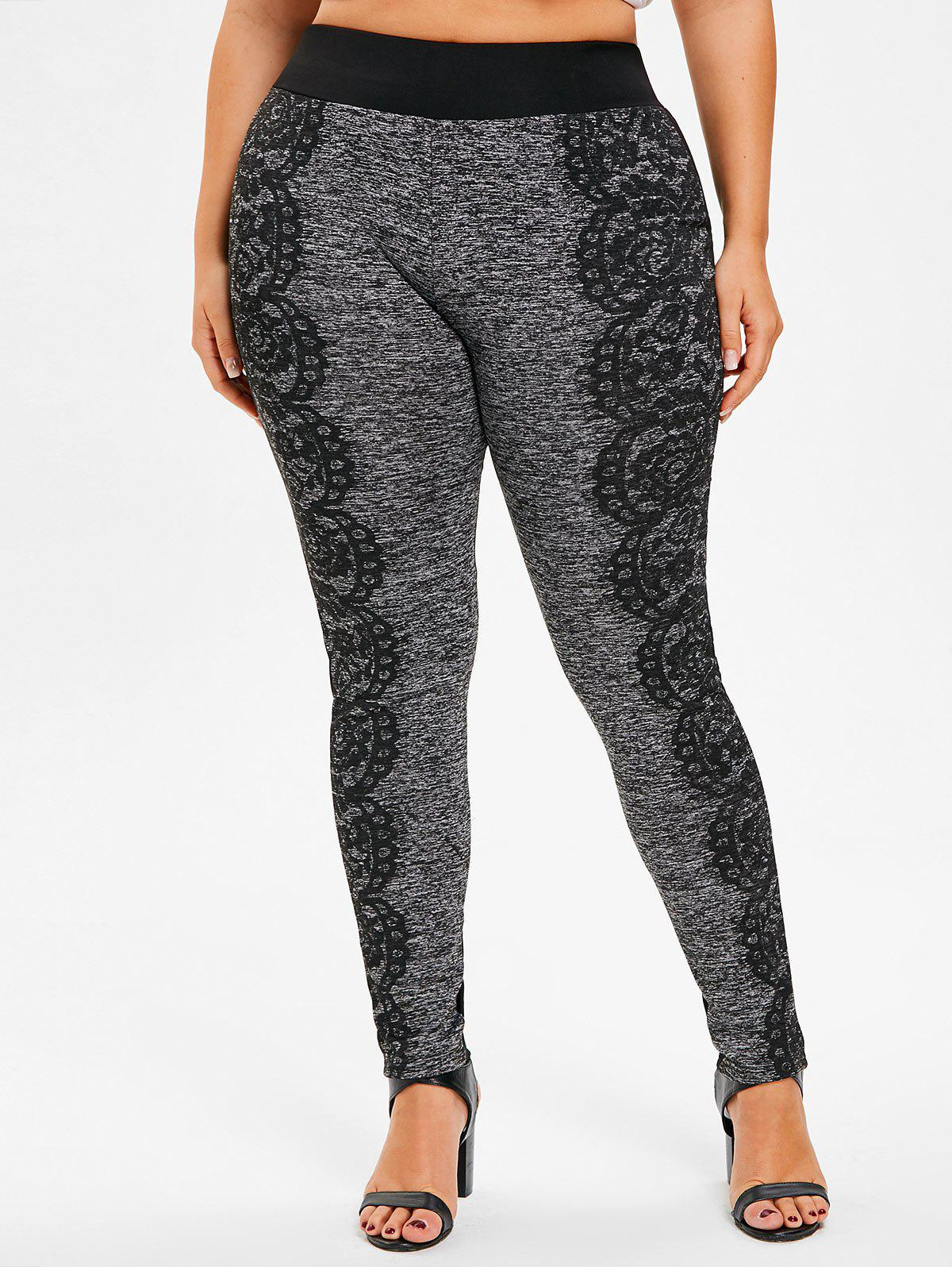 Outfits Lace Print Plus Size Fitted Pants