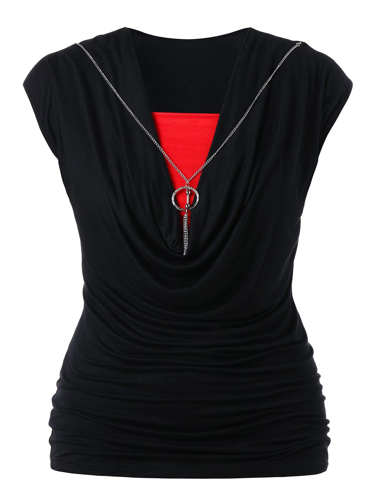 Best Plus Size Two Tone Cowl Neck Tank Top