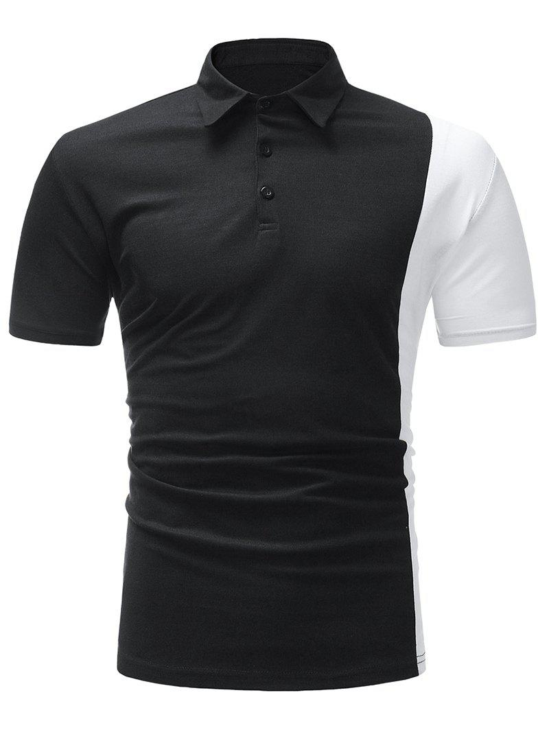 Affordable Contrast Color Short Sleeve Turndown Collar T-shirt
