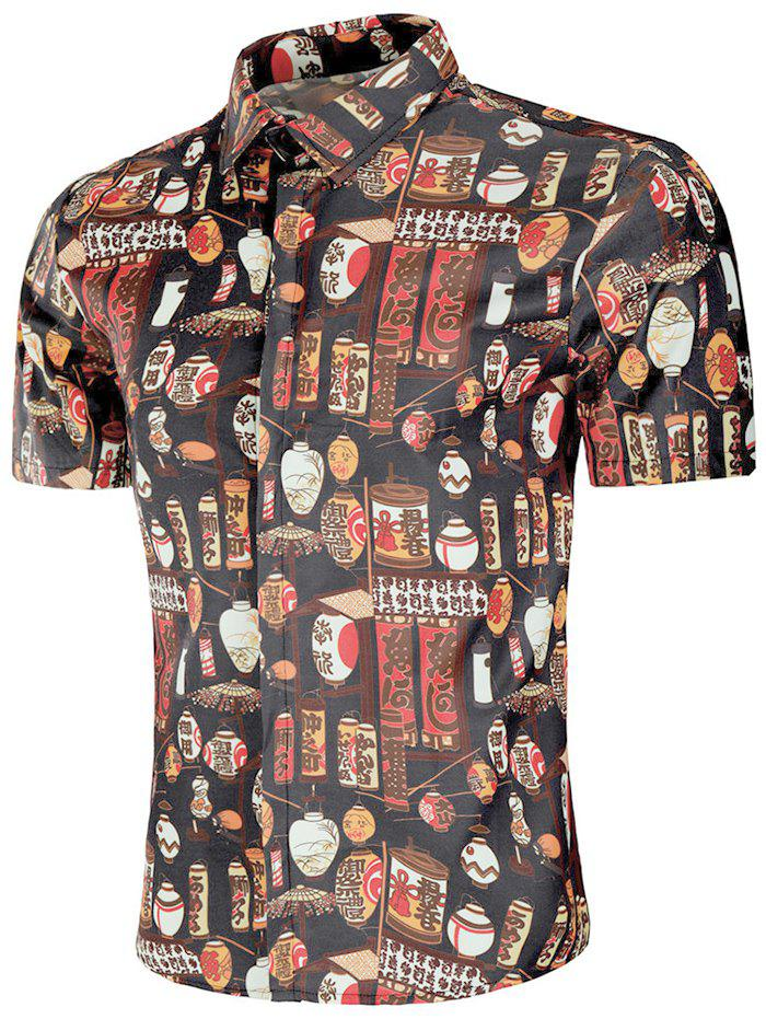 Chemise Style Chinoiserie avec Bouton Caché