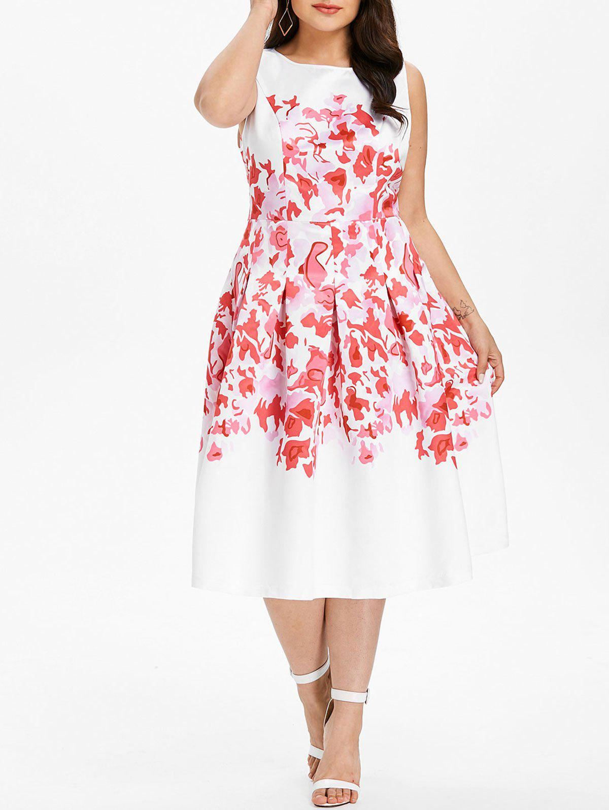 Discount Plus Size Sleeveless Midi Flare Dress