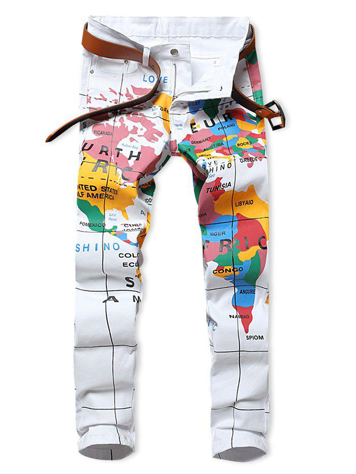 Trendy Map Letter Print Zipper Fly Jeans