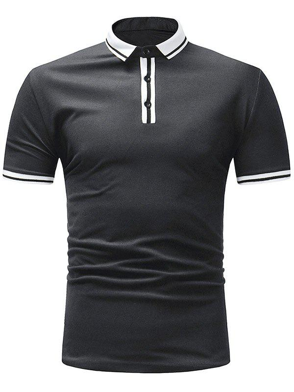 Chic Stripe Trim Short Sleeve Polo T-shirt