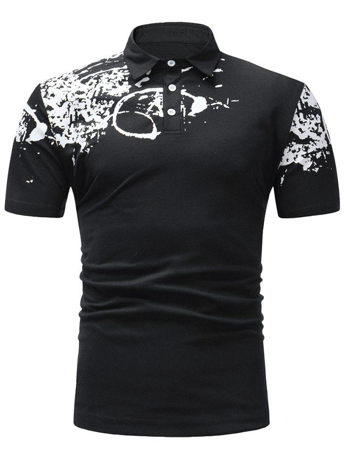 Affordable Half Button Paint Splash Polo T-shirt
