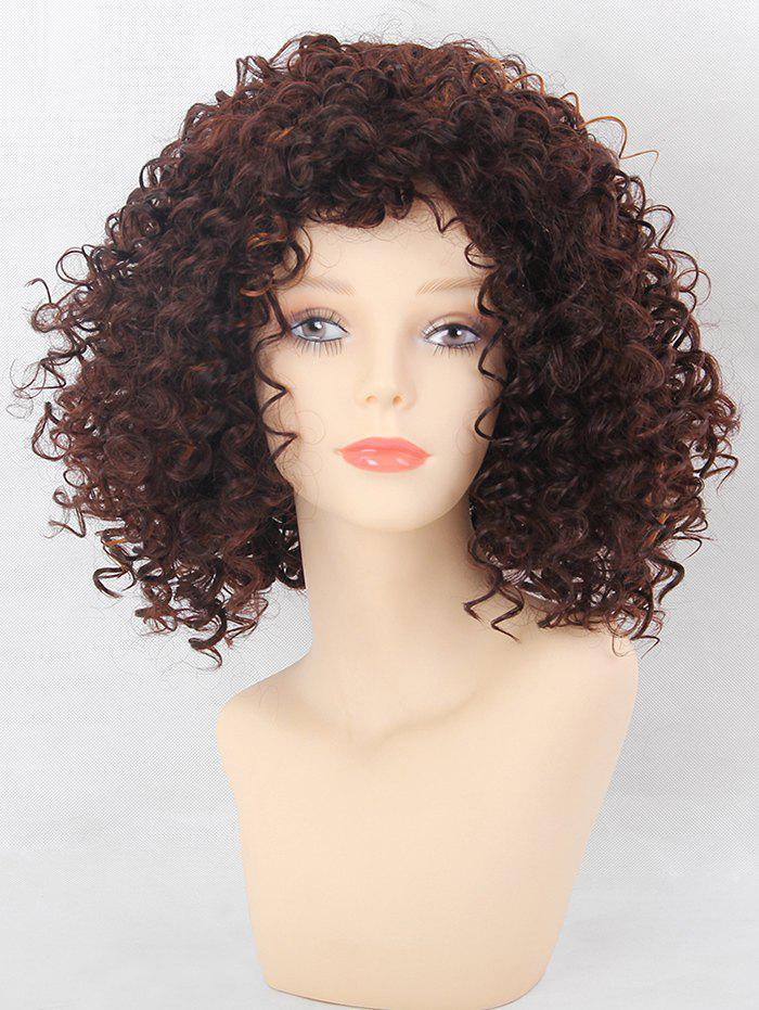Sale Medium Side Bang Afro Kinky Curly Colormix Synthetic Wig