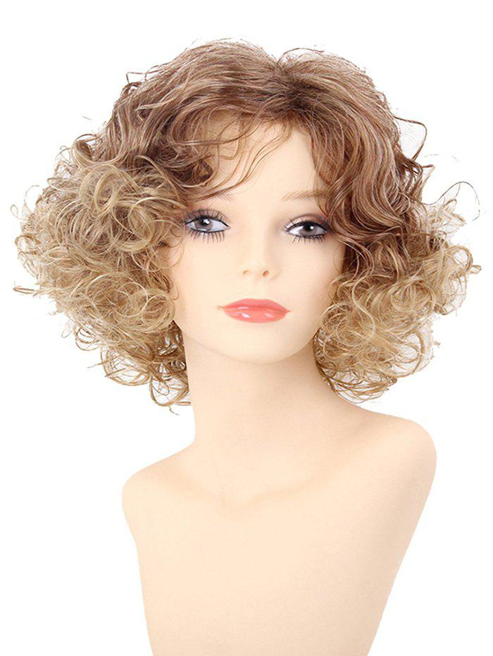 Discount Short Inclined Bang Colormix Fluffy Curly Synthetic Wig