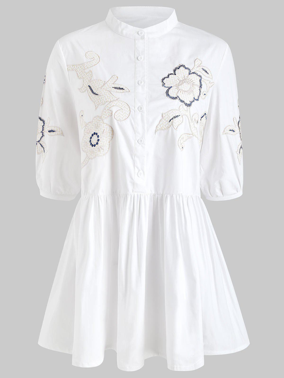 Shops Floral Embroidery Button Front Mini Shirt Dress