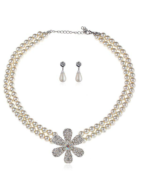 Shop Rhinestone Floral Faux Pearl Beaded Wedding Jewelry Set