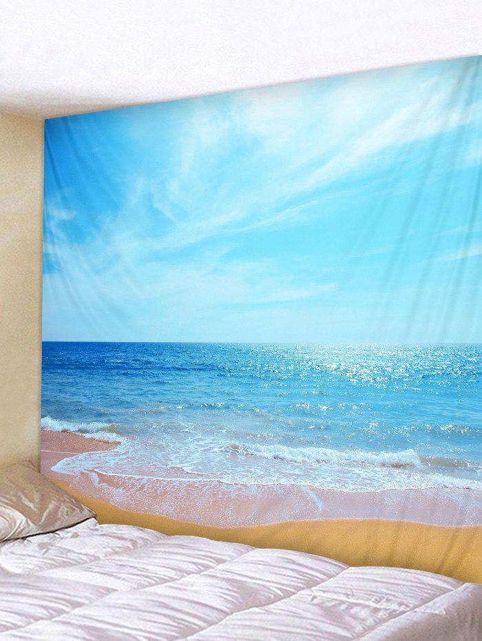 Sky Seaside Printed Tapestry Wall Hanging Decoration, Light blue