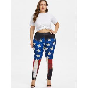 Plus Size Splatter Paint American Flag Leggings -