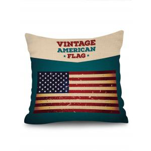 Vintage American Flag Print Decorative Linen Sofa Pillowcase -
