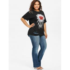Plus Size Distressed Feather Graphic T-shirt -
