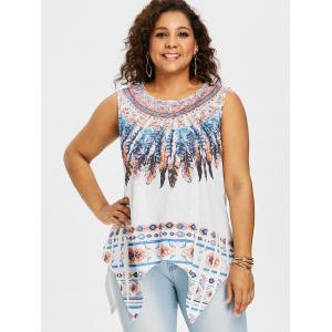 Plus Size Feather Handkerchief Tank Top -