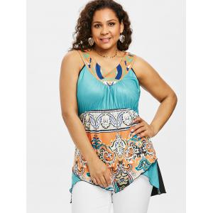 Plus Size Empire Waist Folkloric Pattern Tank Top -