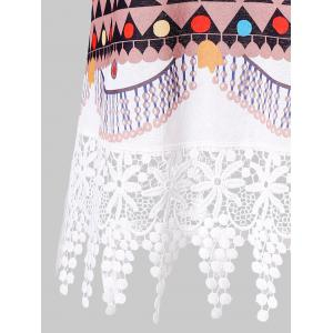 Printed Lace Panel Tank Top -