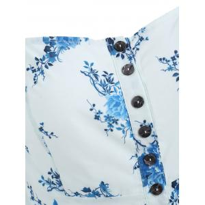 Buttoned Floral Flare Blouse -