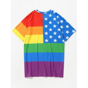 3D Stars and Colorful Stripes Printed T-shirt -