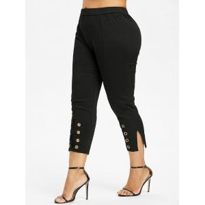 Plus Size Grommet Cropped Pants -