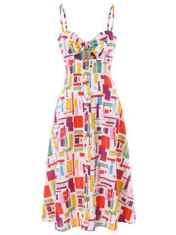 Knot Front Cut Out Print Dress