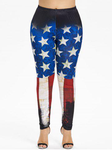Online Plus Size Splatter Paint American Flag Leggings
