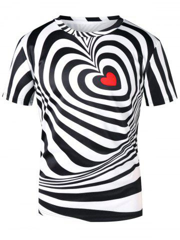 Heart Stripe Print Short Sleeve T-shirt