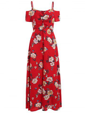 Latest Open Shoulder Casual Floral Dress