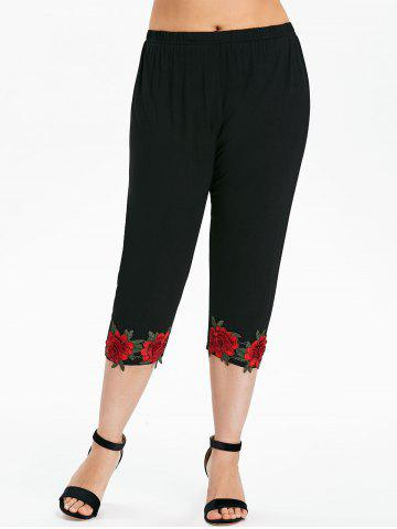 Unique Plus Size Flower Applique Leggings