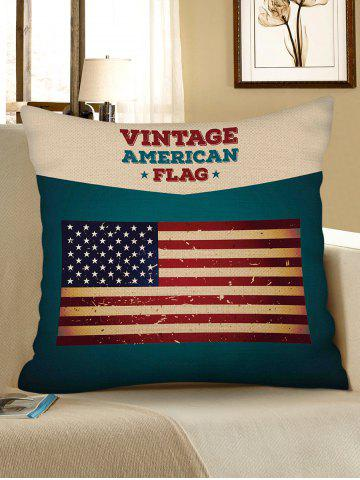 New Vintage American Flag Print Decorative Linen Sofa Pillowcase