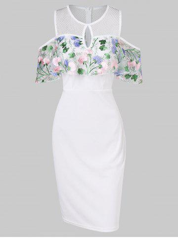 Hot Embroidered Keyhole Front Open Shoulder Bodycon Dress