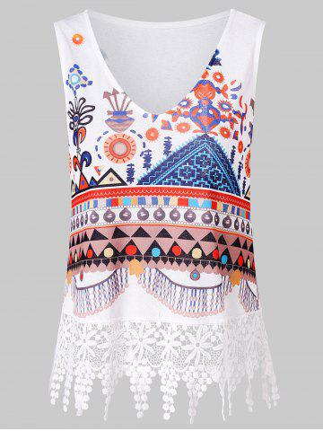 Store Printed Lace Panel Tank Top