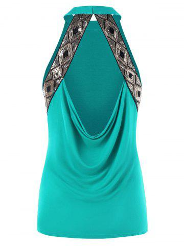 Hot Sequin Draped Backless Fitted Tank Top