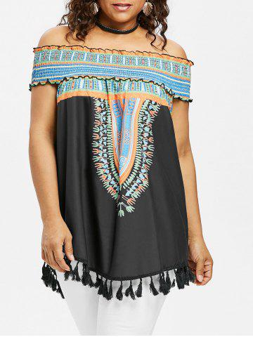 Plus Size Smocked Off Shoulder Tassel Dashiki Blouse - Black - 2x