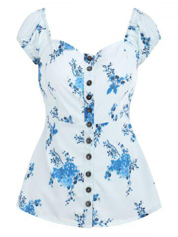 Cheap Buttoned Floral Flare Blouse