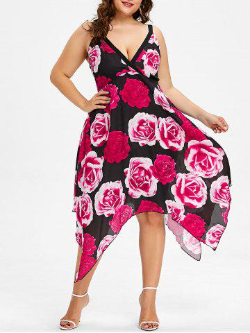 Online Plus Size Rose Print Handkerchief Dress