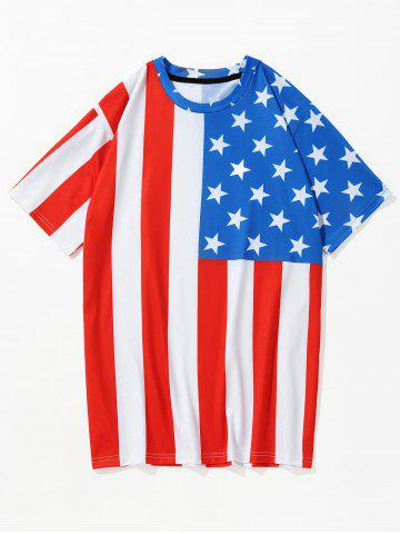 Unique 3D American Flag Printed Short Sleeve Patriotic Tee