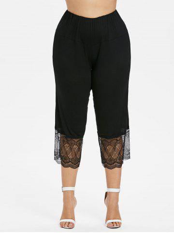 Unique Plus Size Lace Trim Cropped Leggings